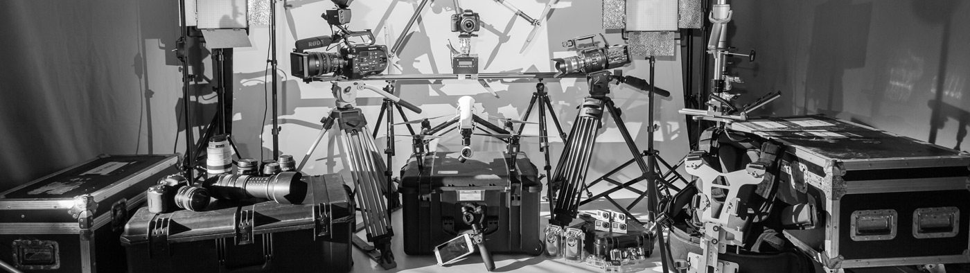 film equipment laid out in a studio