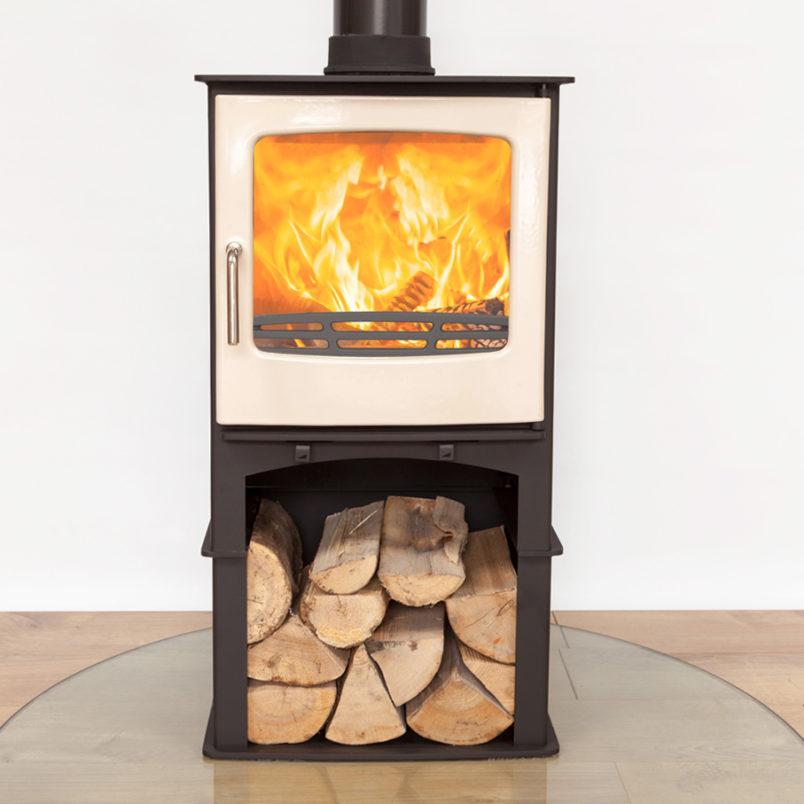 front facing angle of a lit firestove in a white studio