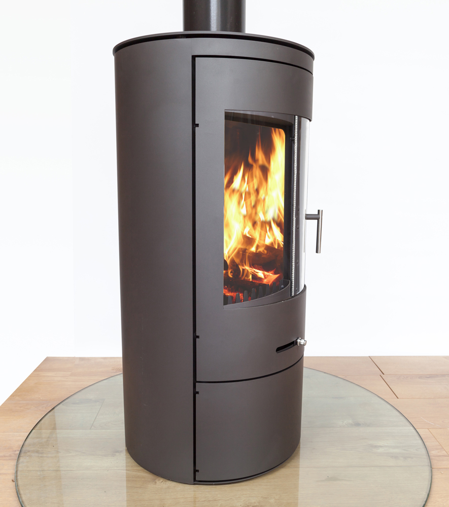 side angle of a tall silver firestove