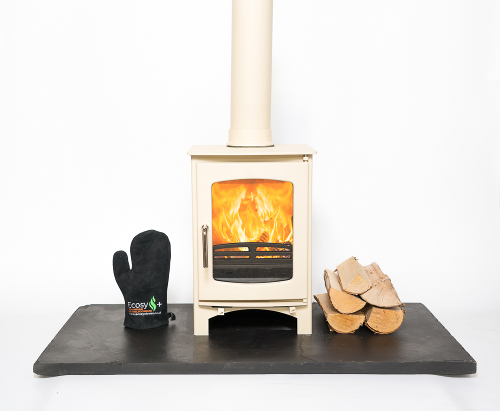 front facing shot of a white firestove with white background